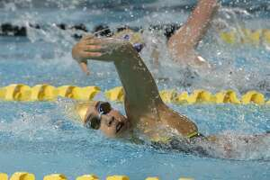 Midland High's Kiara Aguilar swims the girls 200 yard freestyle 01/16/20 during the District 2-6A Championships at COM Aquatics. Tim Fischer/Reporter-Telegram