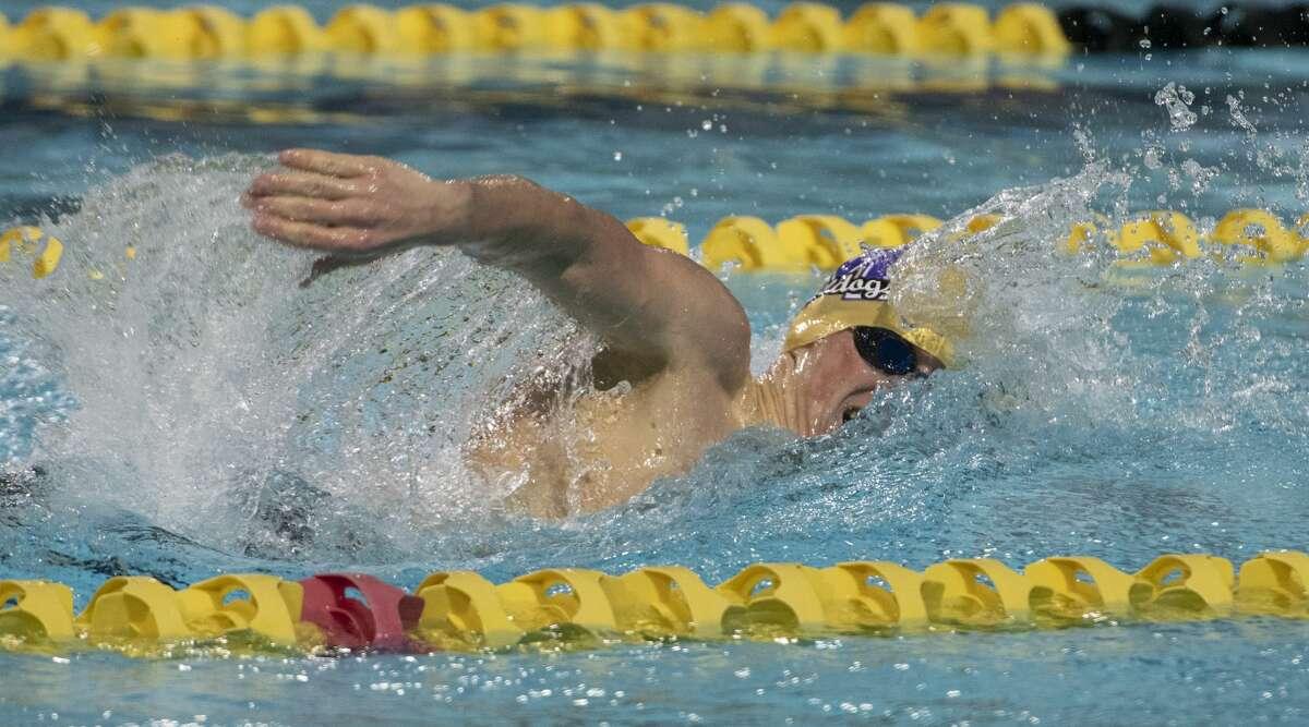 Midland High's Legend Jankowski wins the boys 200 yard freestyle 01/16/20 during the District 2-6A Championships at COM Aquatics. Tim Fischer/Reporter-Telegram