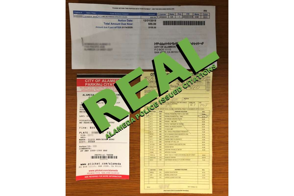 Alameda Police are warning the public about fake parking citations places on vehicles. On Jan. 14, they shared photos that compared a real citation versus a fake on their Twitter account.