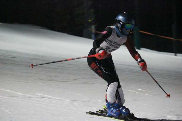 Nora Pasche races downhill during her first slalom run.