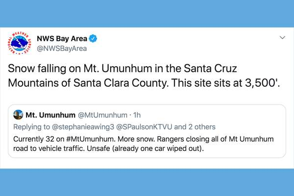 The National Weather Service reported snowfall on Mount Ununhum in Santa Clara county on Jan. 16, 2020.