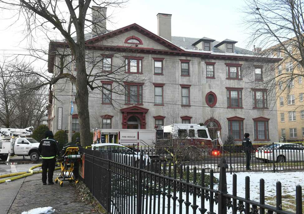 Firefighters work on putting out a fire at the Stockade Inn on Thursday, Jan. 16, 2020 in Schenectady, N.Y. (Lori Van Buren/Times Union)