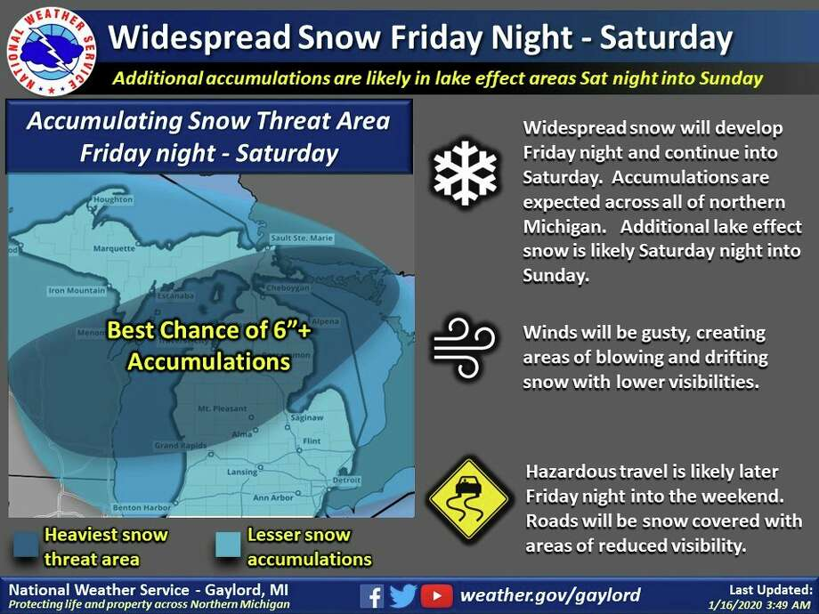Heavy snow is forecast to develop late Friday night into early Saturday morning, with Midland County expected to get from 4 to 8 inches of snow when the storm wraps up. (Graphic/National Weather Service, Gaylord)