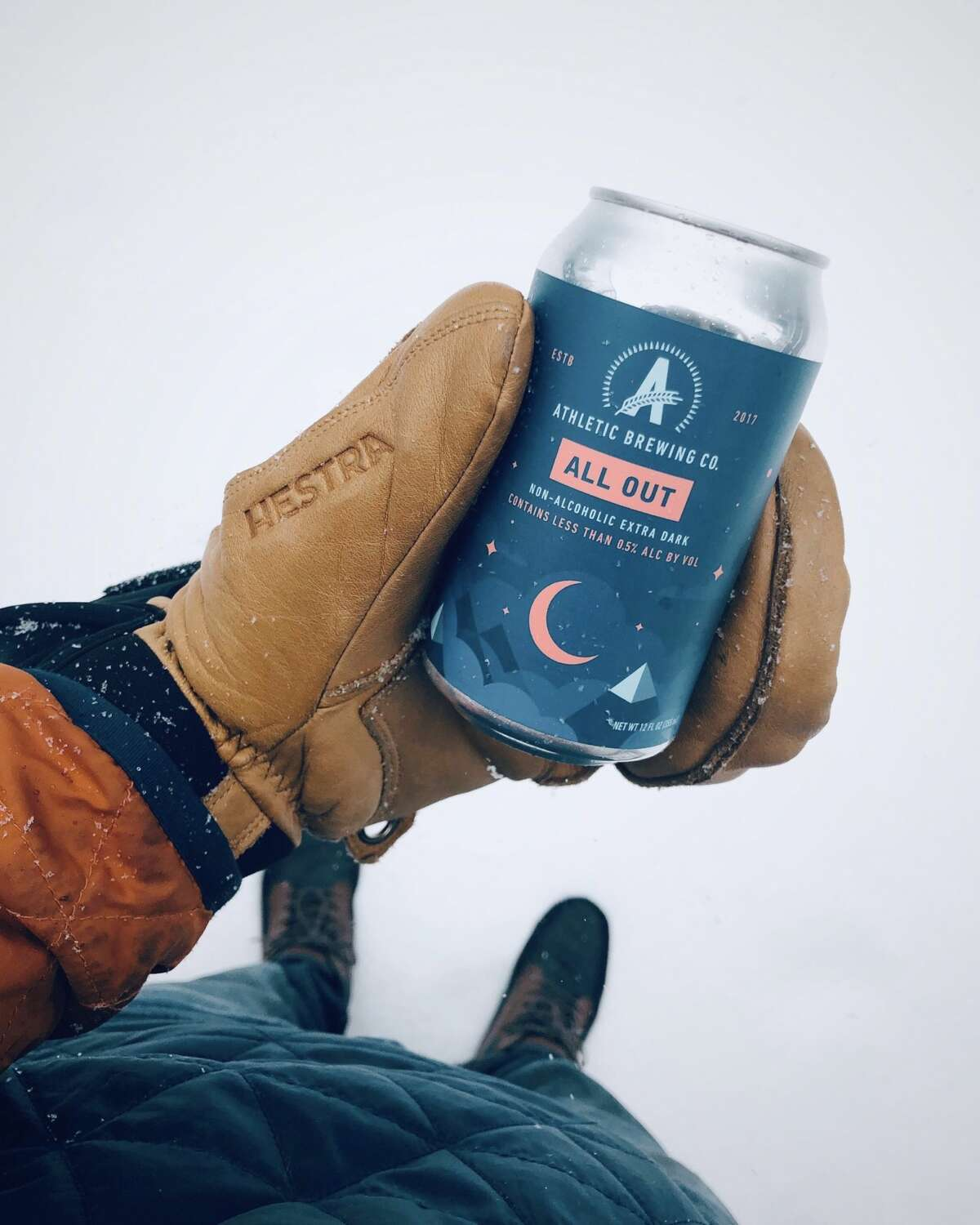 An Athletic Brewing Company beer can. Athletic brewing Company is a nonalcoholic brewery based in Stratford, Conn.