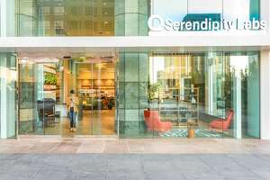 The retail-level entrance of the downtown Los Angeles Serendipity Labs location leads into a Lab Café and work lounge.
