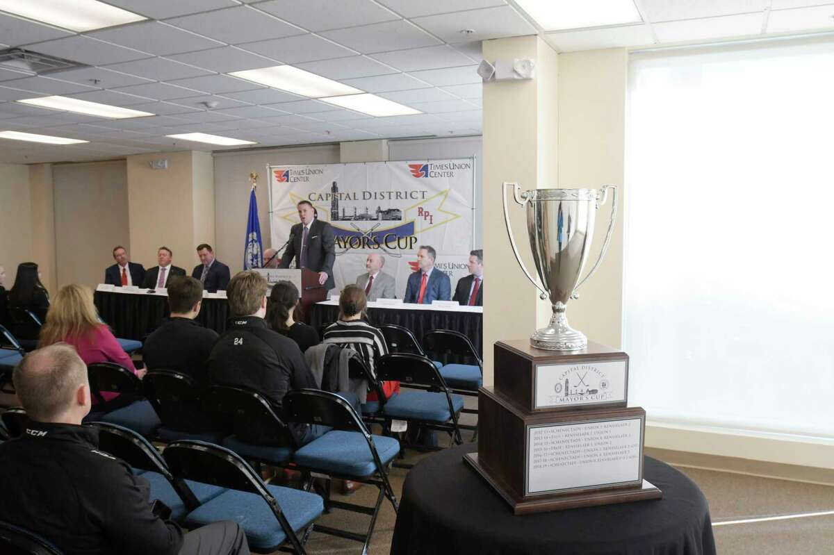 Rick Bennett, Union men's hockey team coach, speaks at a press conference for Mayor's Cup hockey game at the Times Union Center on Thursday, Jan. 16, 2020, in Albany, N.Y. (Paul Buckowski/Times Union)