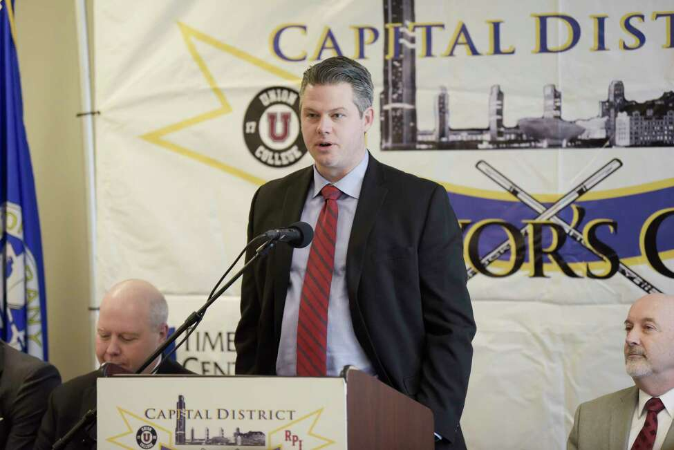 Bryan Vines, RPI woman's hockey team coach, speaks at a press conference for Mayor's Cup hockey game at the Times Union Center on Thursday, Jan. 16, 2020, in Albany, N.Y. (Paul Buckowski/Times Union)