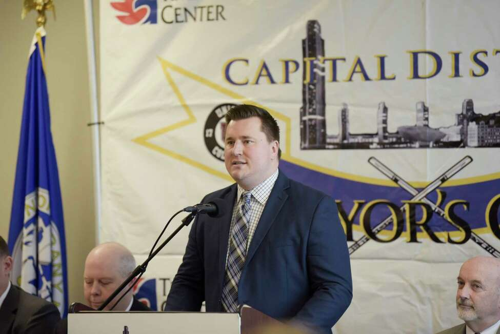 Josh Sciba, Union woman's hockey team coach, speaks at a press conference for Mayor's Cup hockey game at the Times Union Center on Thursday, Jan. 16, 2020, in Albany, N.Y. (Paul Buckowski/Times Union)