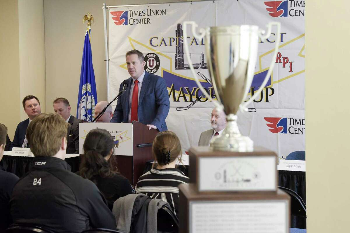 Dave Smith RPI men's hockey team coach, speaks at a press conference for Mayor's Cup hockey game at the Times Union Center on Thursday, Jan. 16, 2020, in Albany, N.Y. (Paul Buckowski/Times Union)