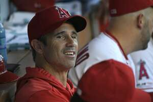 ANAHEIM, CA - AUGUST 30: Manager Brad Ausmus #12 of the Los Angeles Angels looks on from the dugout in a game against the Boston Red Sox at Angel Stadium of Anaheim on August 30, 2019 in Anaheim, California. (Photo by John McCoy/Getty Images)
