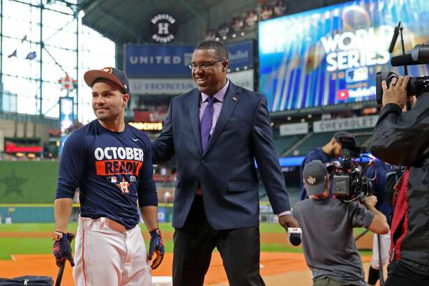 HOUSTON, TX - OCTOBER 27: Jose Altuve #27 of the Houston Astros jokes with ESPN analyst Eduardo Perez during batting practice prior to Game 3 of the 2017 World Series against the Los Angeles Dodgers at Minute Maid Park on Friday, October 27, 2017 in Houston, Texas. (Photo by Rob Tringali/MLB via Getty Images)