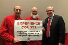 State Sen. Kevin Kelly joins advocates from AARP announcing bipartisan support for a legislative proposal to protect job applicants from age discrimination.