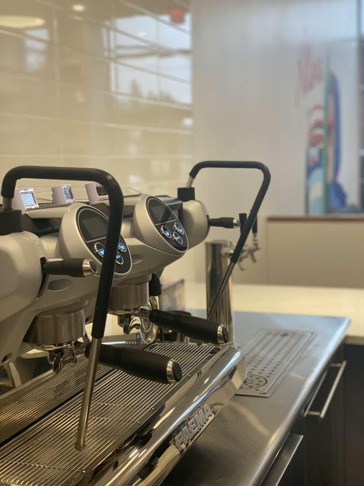 Espresso machine at Allora Coffee & Bites.