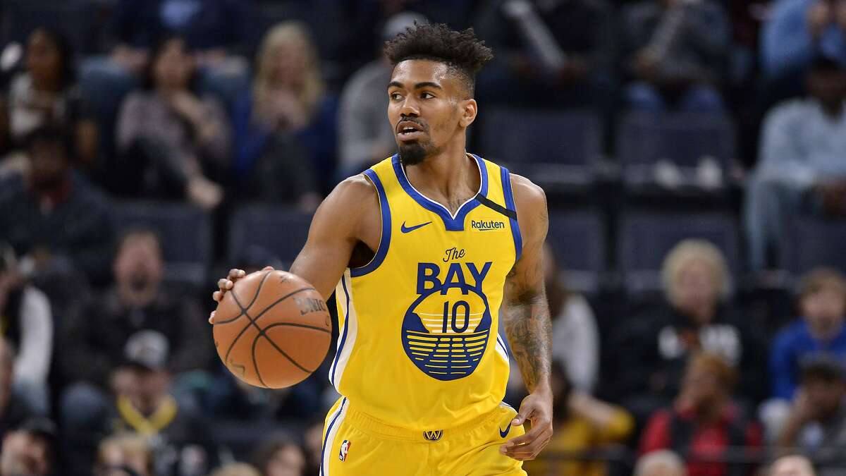 Golden State Warriors guard Jacob Evans (10) plays in the first half of an NBA basketball game against the Memphis Grizzlies Sunday, Jan. 12, 2020, in Memphis, Tenn. (AP Photo/Brandon Dill)