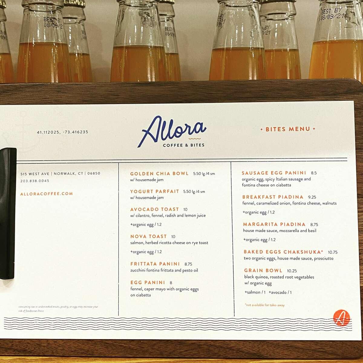 Allora's menu