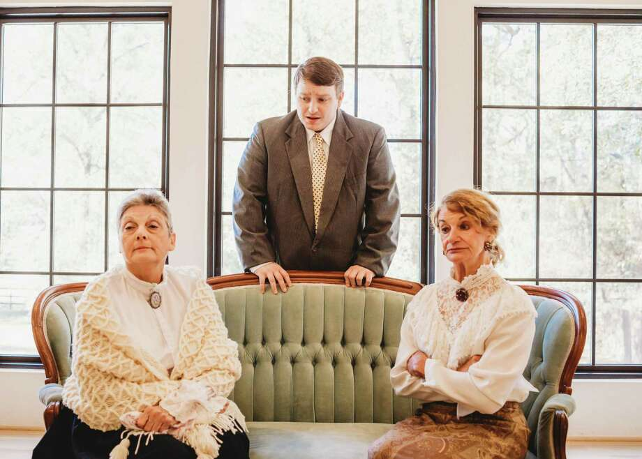 "From left, Terry Lyn Hale as Martha Brewster, Jonathan Stone as Mortimer Brewster and Marilyn Moore as Abby Brewster in The Players Theatre Company's ""Arsenic and Old Lace."" Photo: Photo By Kelley Harris With Dazzling Diva Photography"