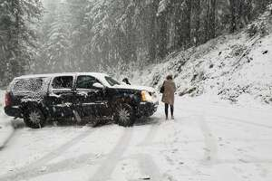 The CHP office in Gold Run, Calif. warns drivers against using backroads to circumvent chain controls on Interstate 80.