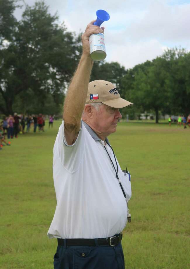 Charlie Goehring gets ready to start a cross country race at Crenshaw Park. Goehring will enter the Hall of Fame for mainly his 16 years as South Houston's track and cross country coach, a stint in which the Trojans were very successful in both sports. Photo: Robert Avery