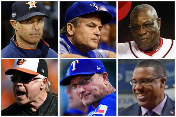 Astros manager candidates (clockwise from top left) Joe Espada, John Gibbons, Dusty Baker, Eduardo Perez, Jeff Banister and Buck Showalter.