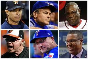 Astros manager candidates (clockwise from top left) Joe Espada, John Gibbons, Dusty Baker, Eduardo Perez, Jeff Banister and Buck Showalter.