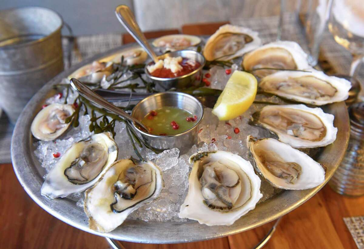 12 pack - 8 chef selected oysters, 4 clams at Fish at 30 Lake located at the Pavilion Grand hotel on Wednesday, Jan. 8, 2020 in Saratoga Springs, N.Y. (Lori Van Buren/Times Union)