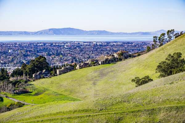 View towards the towns of east bay, San Francisco bay area, Hayward, California