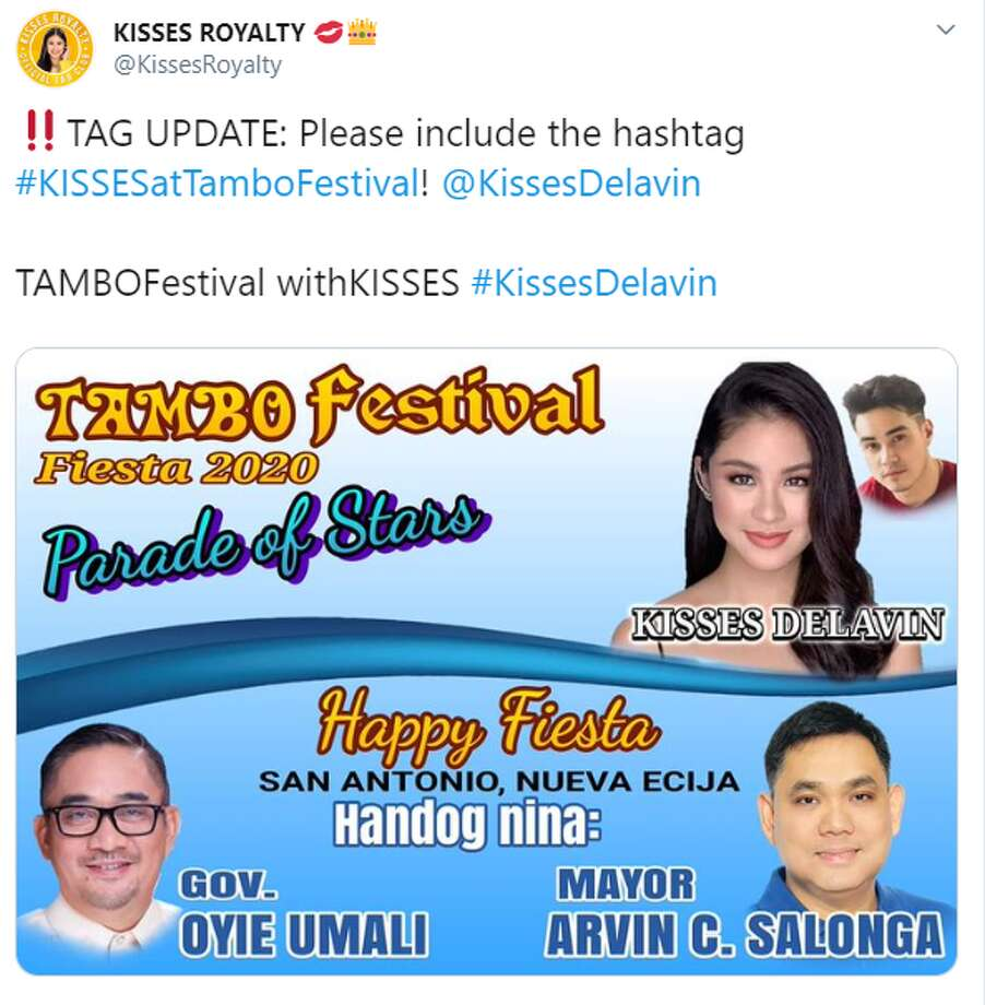 "Tweets were sent out by Nova Ejicanos who were waiting to catch a glimpse of Kisses Delavin, a reality TV and social media star who has amassed a cult-like following in the region. The Filipina actress and Kim Last, another celebrity, were serving as some sort of grand marshals for ""TamboFestival,"" which is complete with a ""Parade of Stars."" The fiesta, or festival, celebrates the province's production of reed used to make walis tambos, a type of broom. The industry is a main source of employment for many households, according to a journal by the Nueva Ecija University of Science and Technology. The celebration is marked with dancing and fairs. Photo: Twitter Screengrab"