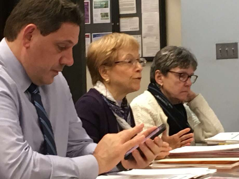 Acting Schools Superintendent Michael Testani, Chief Financial Officer Marlene Siegel and District Budget Manager Elizabeth Mauer present the Bridgeport School District's 2020-21 budget request Photo: Linda Conner Lambeck