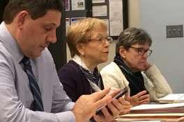 Acting Schools Superintendent Michael Testani, Chief Financial Officer Marlene Siegel and District Budget Manager Elizabeth Mauer present the Bridgeport School District's 2020-21 budget request