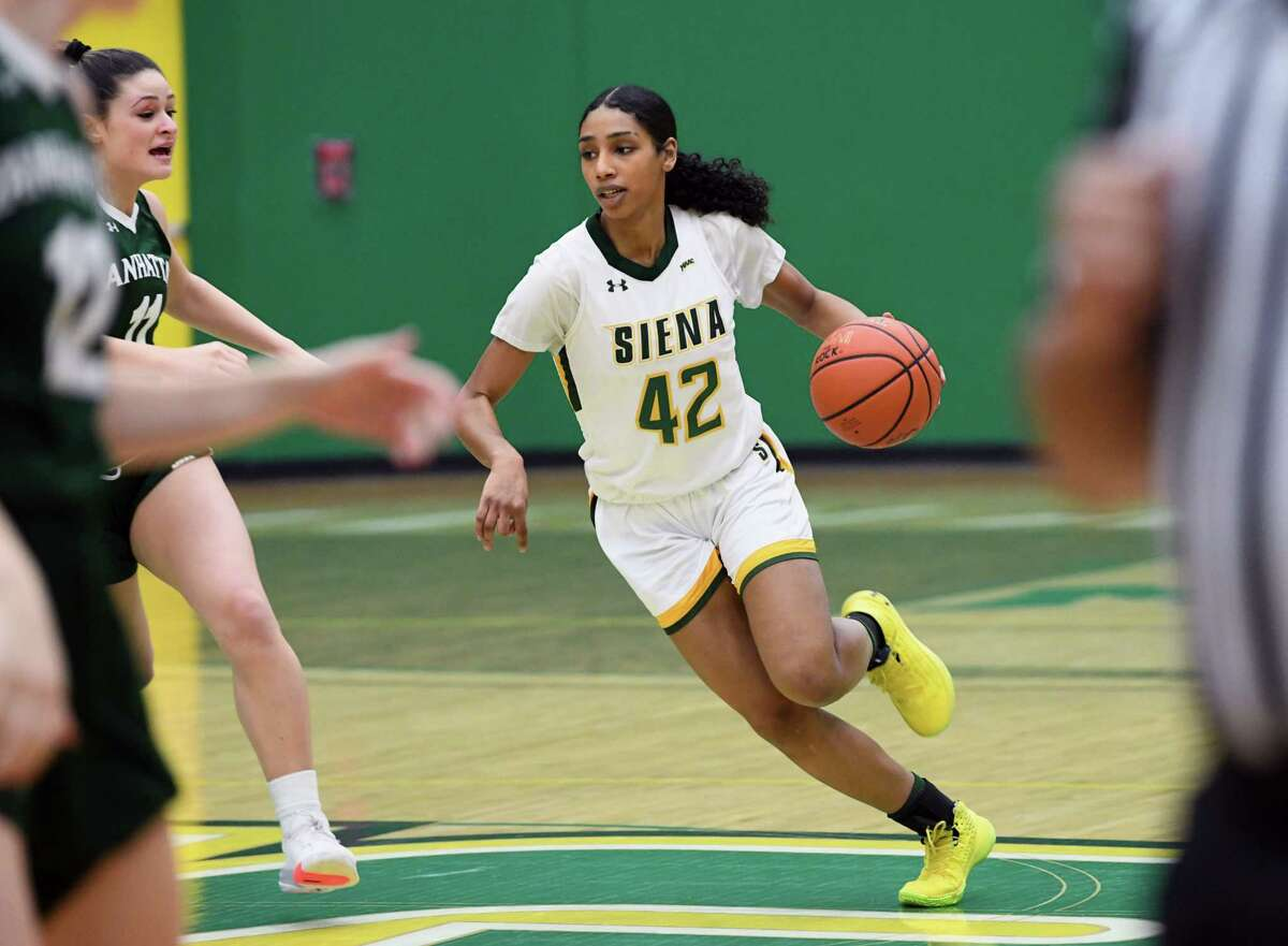Siena's Sabrina Piper brings the ball down the court during a game against Manhattan on Thursday, Jan. 16, 2020 in Loudonville, N.Y. It was also the