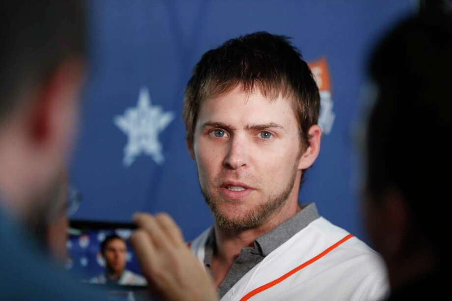 Houston Astros outfielder Josh Reddick is interviewed by local media members before the start on the Astros Caravan at St. Arnold's Brewery, in Houston, January 16, 2020. Reddick did not answer questions pertaining to the Astros cheating scandal. Photo: Karen Warren, Staff Photographer / Houston Chronicle