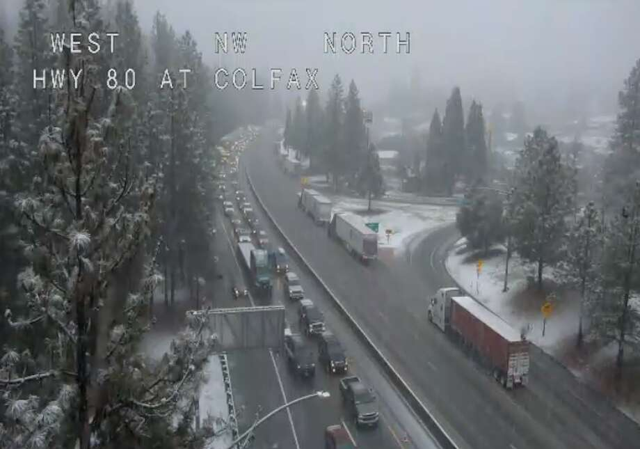 Caltrans was holding traffic on eastbound I-80 at Colfax at 3 p.m., Jan. 16, 2020. Photo: NWS/ Caltrans