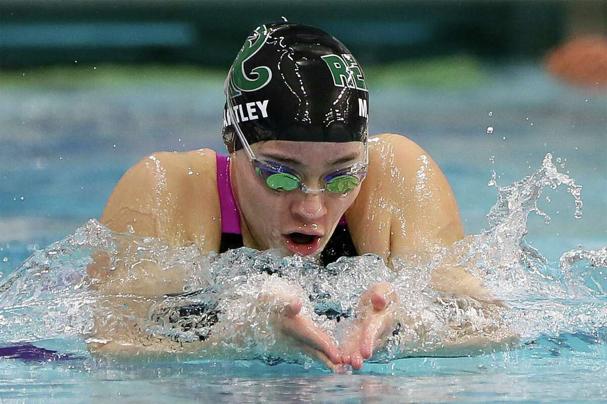 Regan's Morgan Bartley swims in the girls 100-yard butterfly during the UIL Class 6A state championship at the Jamail Swimming Center at the University of Texas at Austin on Saturday, Feb. 16, 2019. Bartley finsihed fifth in the event with a time of 1:04.32.