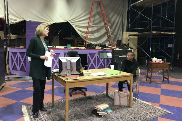 "Christina Reeves, left, and Monet Thompson rehearsing ""The Niceties"" at Siena College (photo by Amy Biancolli)"
