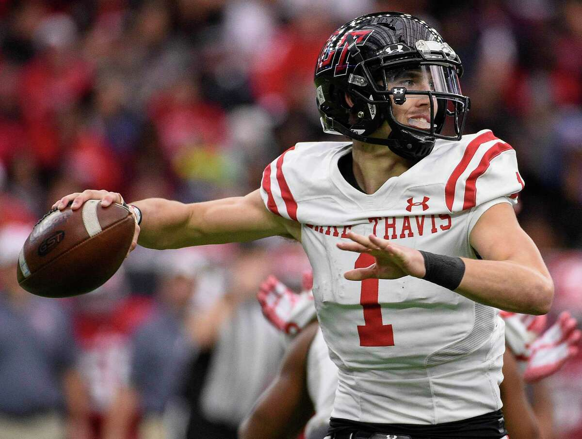 Lake Travis quarterback Hudson Card throws a pass during the first half of a 6A Division 1 state semi-final high school football playoff game against North Shore, Saturday, Dec. 15, 2018, in Houston.
