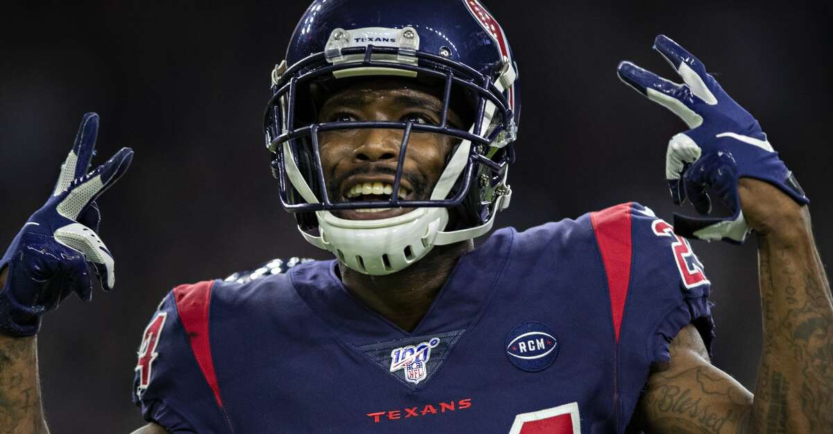 HOUSTON, TX - DECEMBER 1: Johnathan Joseph #24 of the Houston Texans celebrates after a big play in the second half of a game against the New England Patriots at NRG Stadium on December 1, 2019 in Houston, Texas. The Texans defeated the Patriots 28-22. (Photo by Wesley Hitt/Getty Images)