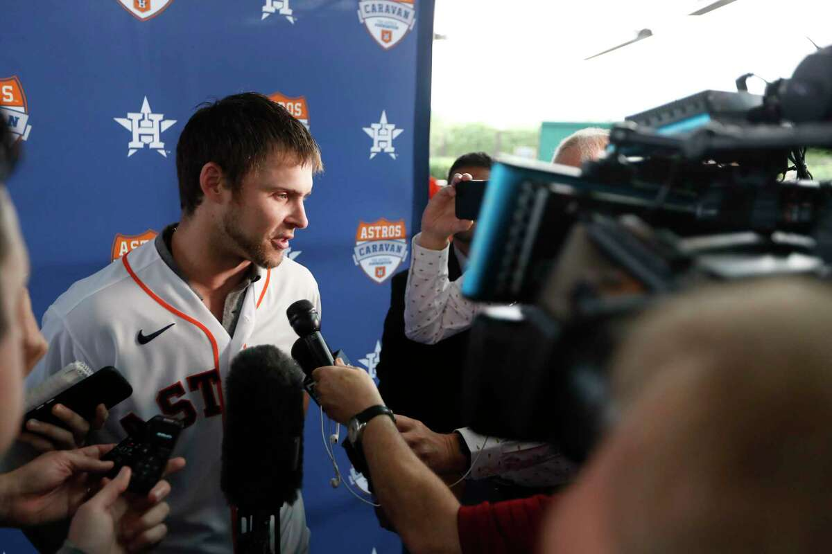 """Outfielder Josh Reddick addresses the media Thursday at an Astros Caravan appearance at St. Arnold's Brewery. Reddick did not add any details to the Astros cheating scandal other than to say the situation """"stinks."""""""