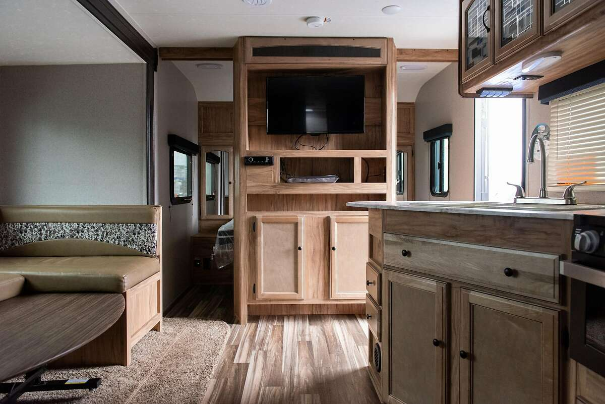 FEMA trailers Gov. Gavin Newsom will be giving to different cities to help with the homelessness crisis. Oakland will be the first city to receive such trailers. on January 16, 2020 in Oakland, Calif.
