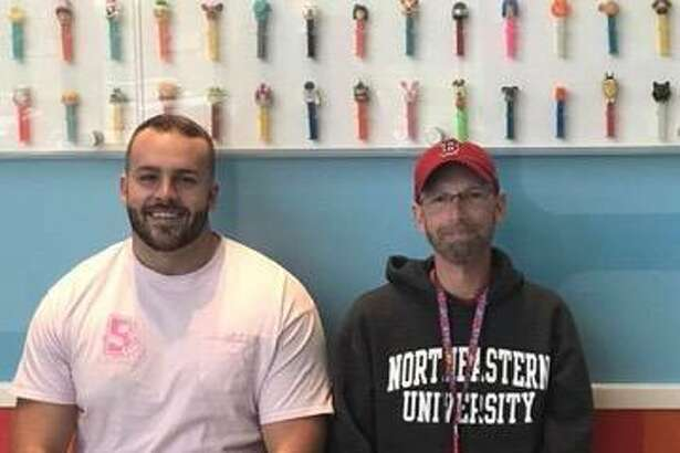 Orange's Christian Montano, the Watler Camp Football Foundation Connecticut Player of the Year, recently met Jim Calhoun. Montano donated his bone marrow to help save Calhoun's life.