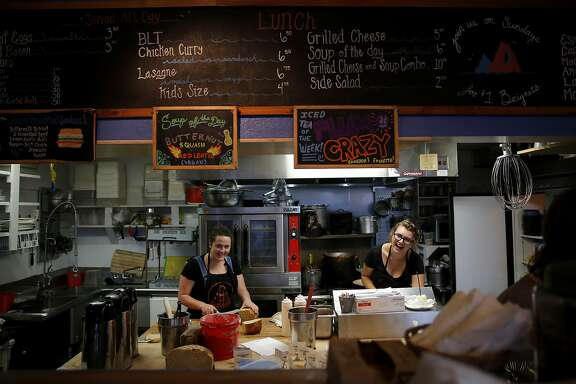 Ellie Donovan (left) and Natasha Osmidoff prepare orders at Devil's Teeth Baking Company in San Francisco, California, on Sunday, Oct. 4, 2015.