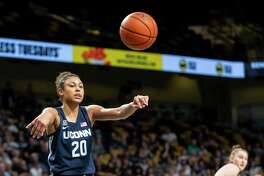 Connecticut forward Olivia Nelson-Ododa (20) tosses the ball during the first half of an NCAA college basketball game against Central Florida in Orlando, Fla., Thursday, Jan. 16, 2020. (AP Photo/Willie J. Allen Jr.)
