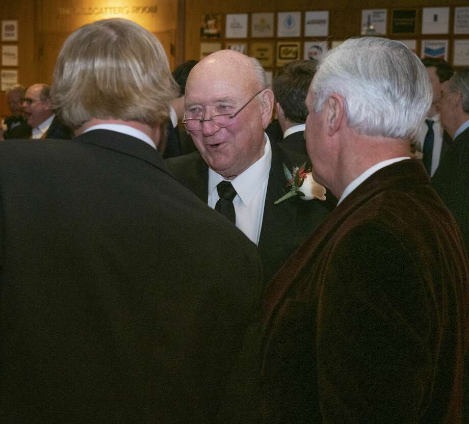Friends and colleagues talk with and congratulate Dick Saulsbury 01/16/20 as he is honored by the Permian Basin Petroleum Association Top Hand Award at the Petroleum Club. Tim Fischer/Reporter-Telegram Photo: Tim Fischer/Midland Reporter-Telegram