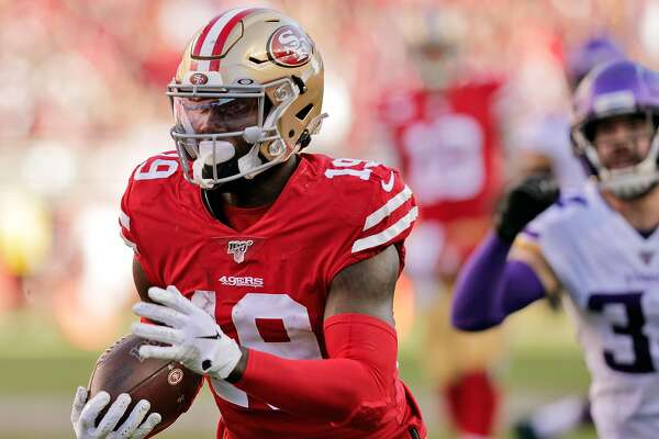 Deebo Samuel (19) turns up field after a catch in the first half as the San Francisco 49ers played the Minnesota Vikings in the NFC Divisional Round playoff game at Levi's Stadium in Santa Clara, Calif., on Saturday, January 11, 2020.