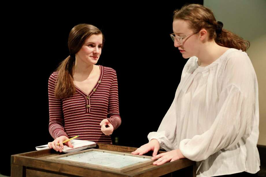 """Freshman Audrey Huff and Senior Lucy Basile rehearse for the upcoming RHS production of """"Silent Sky"""", opening Jan. 23 at 7:30 p.m. in the Black Box Theatre at Ridgefield High School. Photo: Tanya Jaeger / Contributed Photo"""