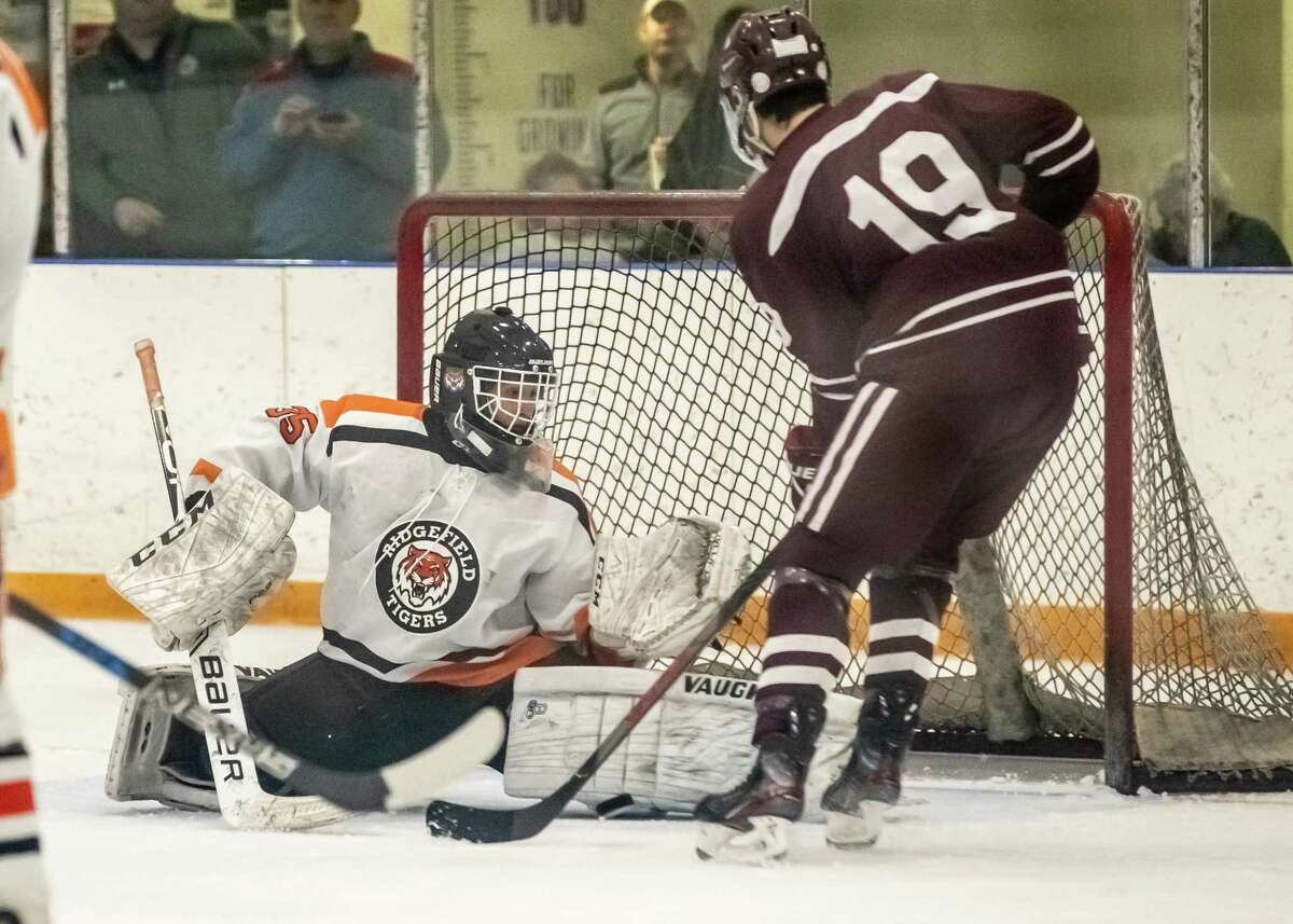 Ridgefield goalie Matt Silliman (shown stopping a shot in Saturday's game against La Salle Academy) made 31 saves as the Tigers beat Westhill-Stamford, 6-1, on Wednesday night.