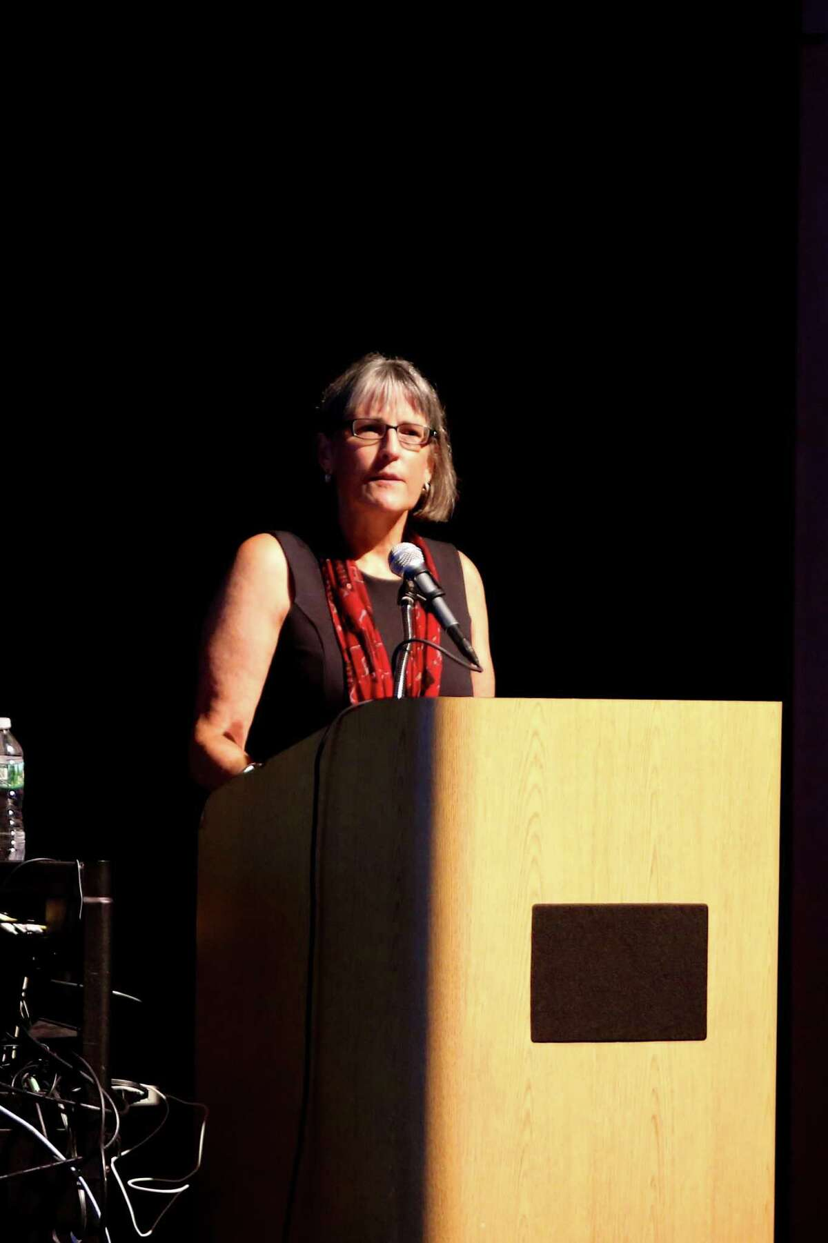 Ms. Carol Sutton, President of GEA, gives welcome remarks during the convocation ceremony for all Greenwich Public School teachers held inside the auditorium at Greenwich High School August 26, 2016.