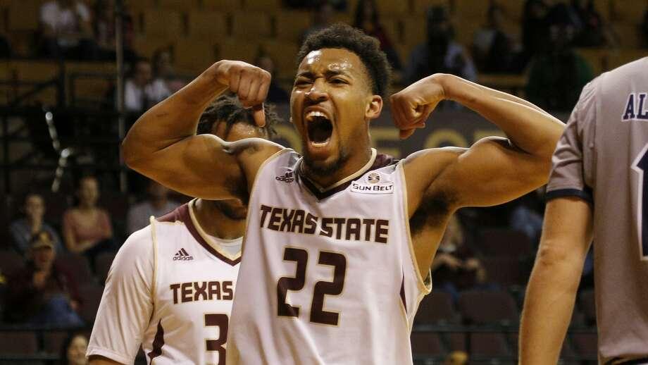 Pearson celebrates after scoring a basket. Photo: Texas State Athletics
