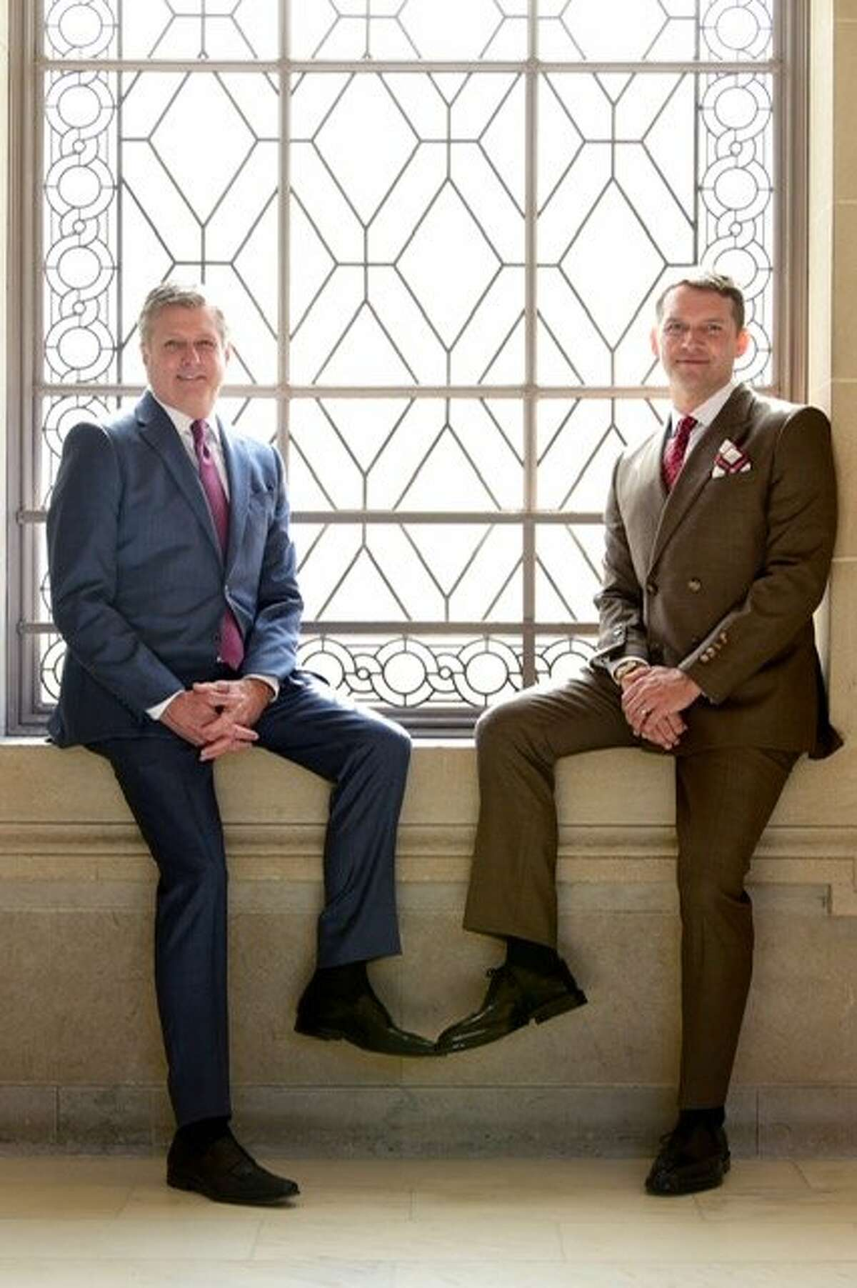 Golden State Warriors president Rick Welts, left, and his husband, Todd Gage, on their wedding day at City Hall.