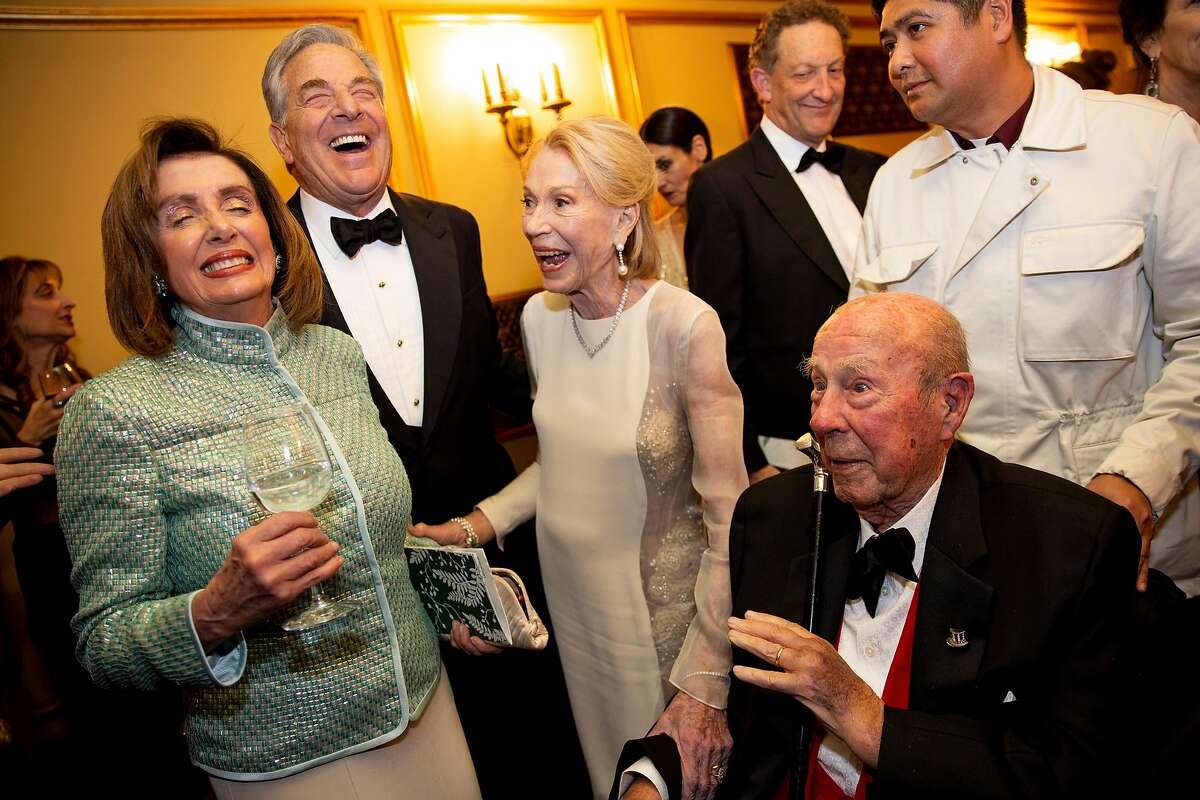 From left: Nancy Pelosi, Paul Pelosi, Charlotte Mailliard Shultz and George Shultz chat during the intermission of Spellbound, San Francisco Ballet's opening night gala at the War Memorial Opera House, Thursday, Jan. 16, 2020, in San Francisco, Calif.