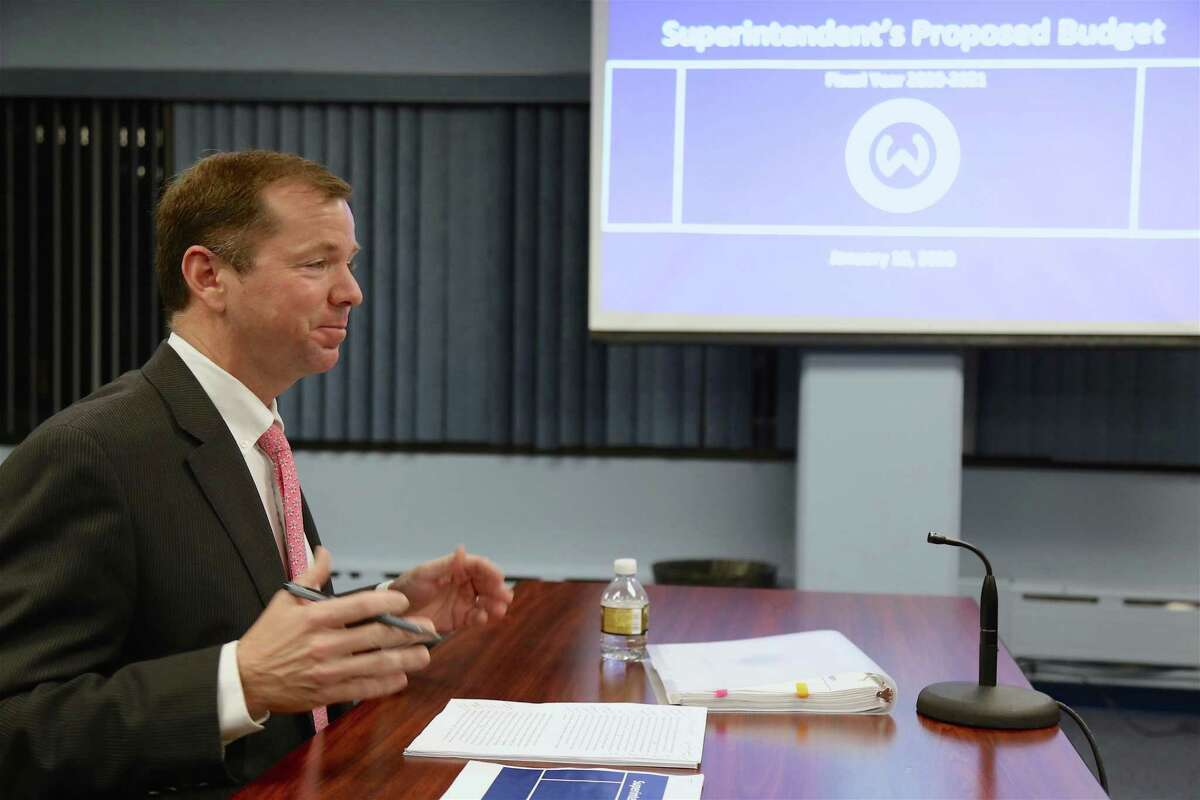 Superintendent of Schools Kevin Smith talks about his budget proposal to the Board of Education on Jan. 16.
